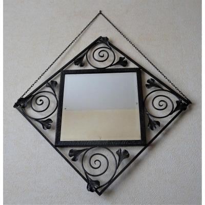 Wrought Iron Art Deco Mirror With Ginkgo Biloba Leaves