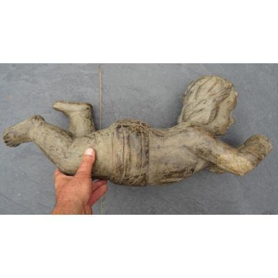 Grand Putti En Bois Sculpté 19ème