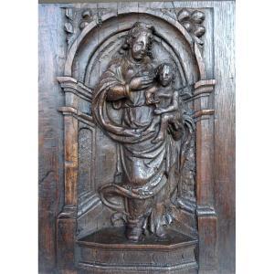 Vierge à l'Enfant Sur Panneau De Chêne 17ème