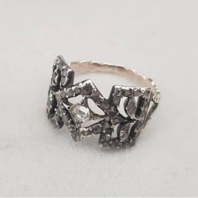 Bague Du 18ème Siècle En Argent Et Diamant