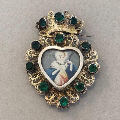 Pendentif coeur couronné en vermeil miniature 18ème allemagne