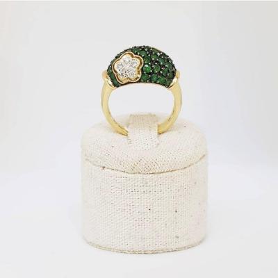 Bague Demi-dôme Or 18k Avec Pavage d'émeraudes Et Diamants