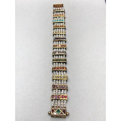 Bracelet Indien  Or 18k émaillés perles fines, pierres fines et précieuses