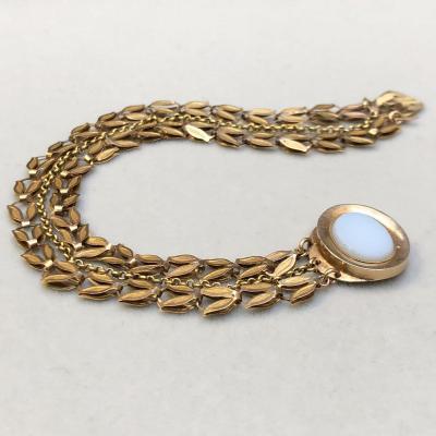 Bracelet Or 18k époque Directoire  Fermoir Calcédoine