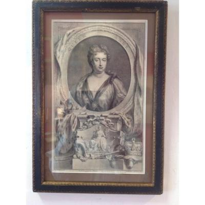 Engraving / Portrait Of Queen Anne In 1744