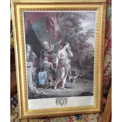 Gravure , Cadre d'époque  Louis XVI En Bois Doré