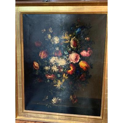 Large Bouquet Of Flowers, Oil On Canvas