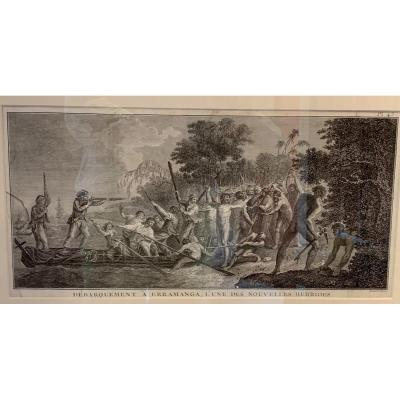 Engraving / Voyage De Cook Landing At Erramanga
