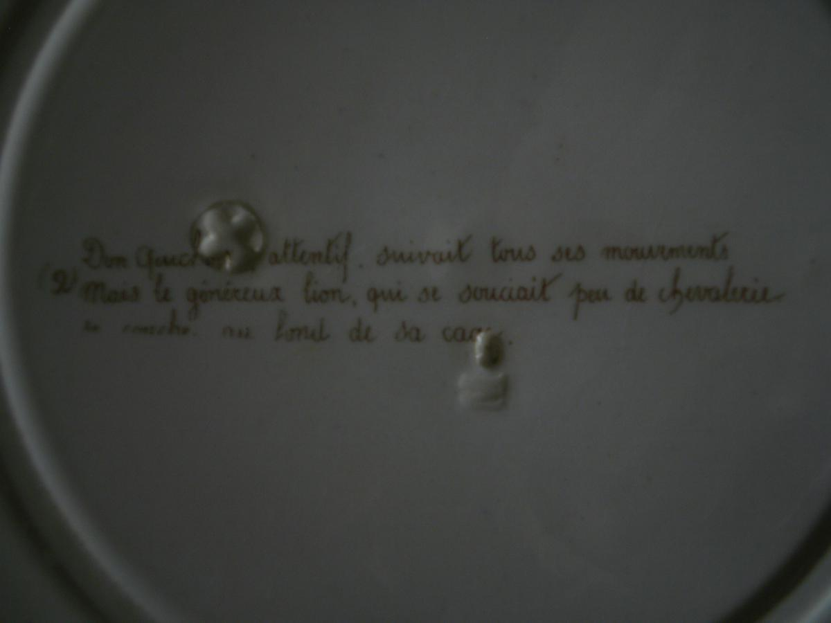 """Faience Parlante """"don quichotte"""" - MONTEREAU - XIXème-photo-3"""