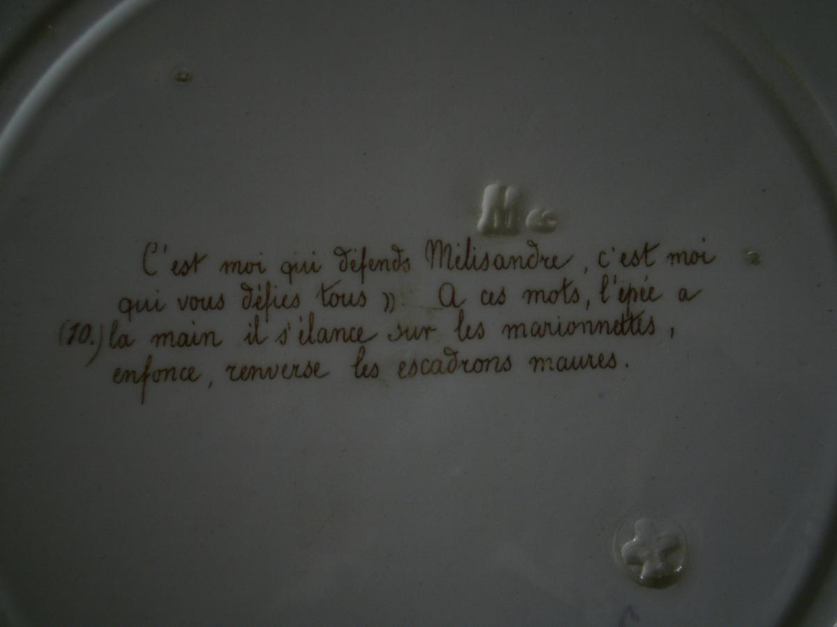"""Faience Parlante """"don quichotte"""" - MONTEREAU - XIXème-photo-4"""