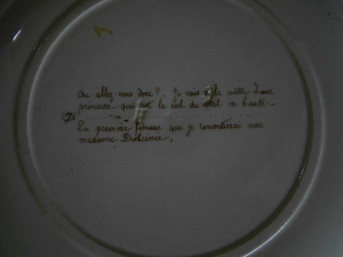 """Faience Parlante """"don quichotte"""" - MONTEREAU - XIXème-photo-6"""