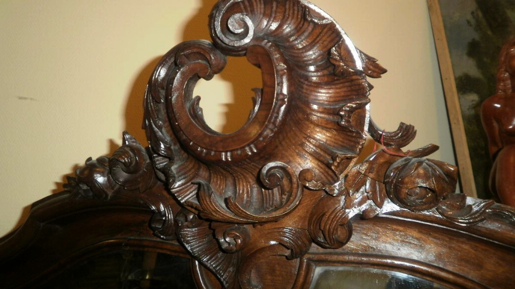 Miroir Rocaille En Noyer - XIXème-photo-4