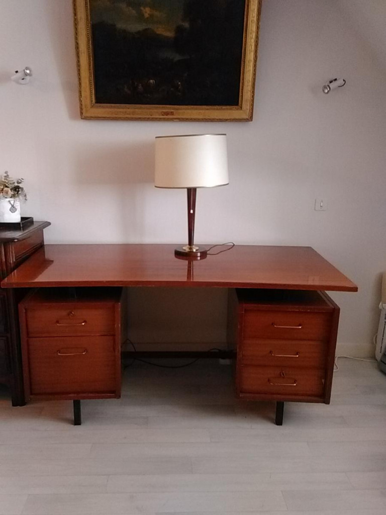 Office Plate In Mahogany Of The Years 50-60