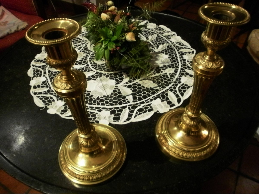 Pair Of Candlesticks In Bronze Dore - Louis XVI Style