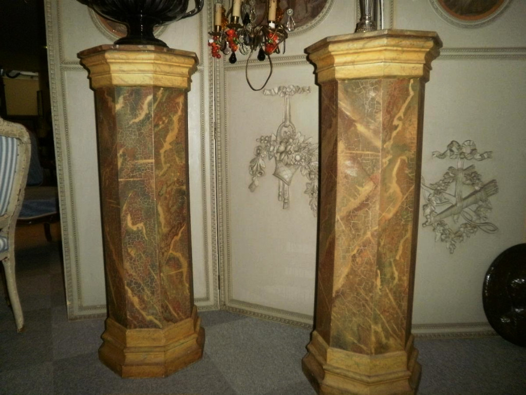 Pair Of Wooden Columns, Painted Faux Marble - Twentieth