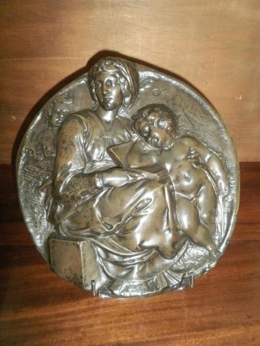 Bronze «vierge A l'Enfant Et Jean-baptiste» Selon Michel Ange - XIXème