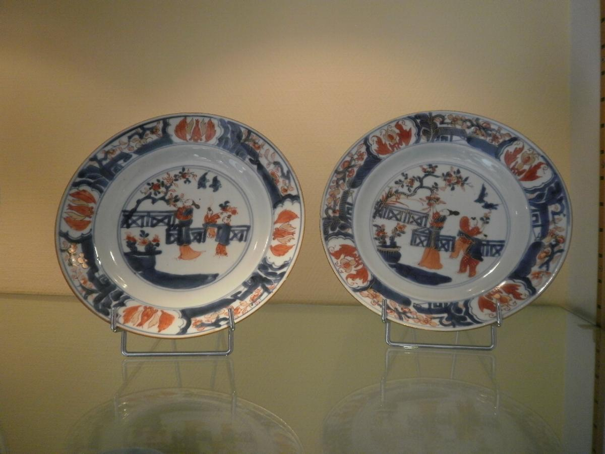 Chine – 2 Assiettes En Porcelaine «imari» - XVIIIème