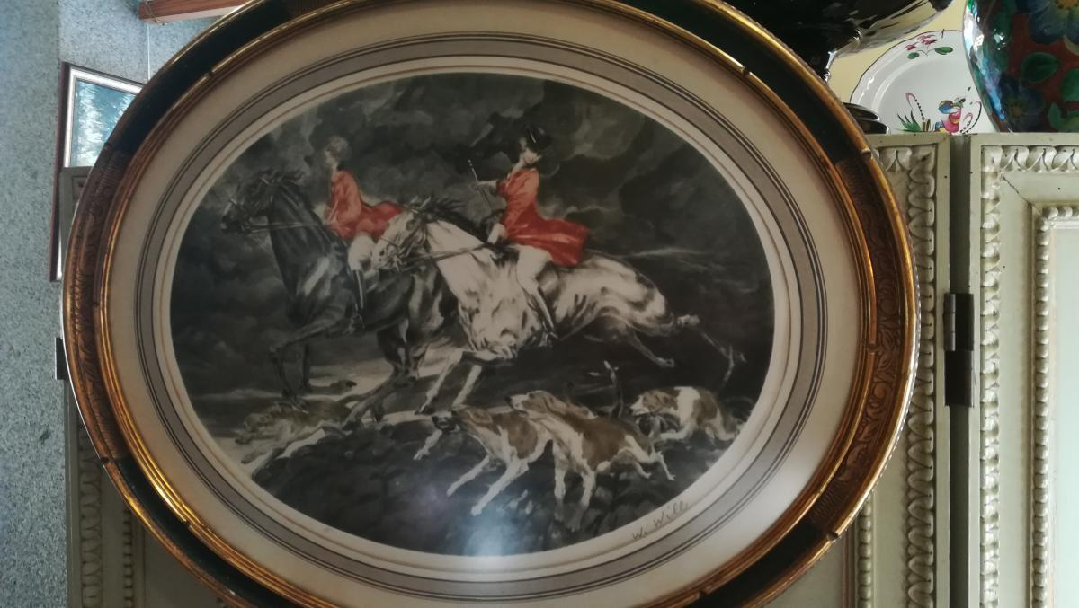 Lithographie Scene De Chasse - XXeme Siecle