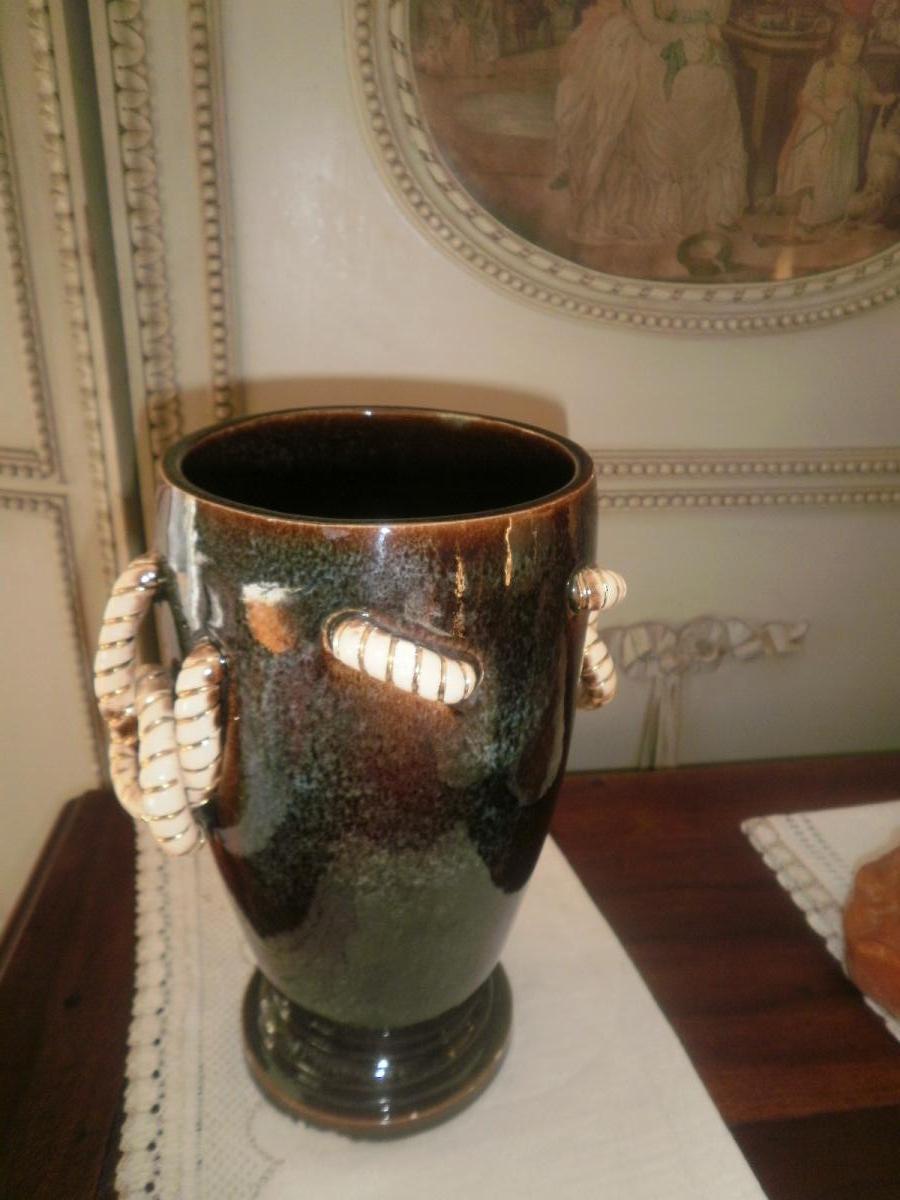 Vase Art Déco En Faience Vernissee – Bosch-photo-3