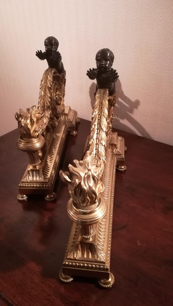 Paire De Chenets Bronze - XIXème