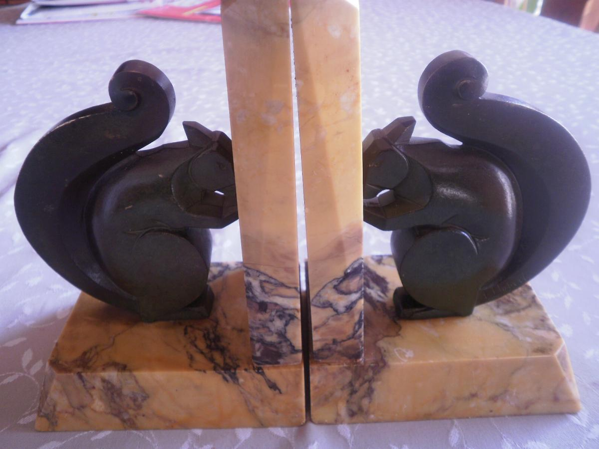 2 Serre-livres Bronze Ecureuils- L Hubert - Art Déco