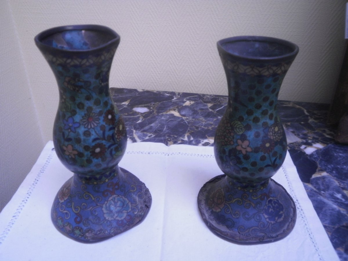 Paire De Vases Cloisonnes – XIXème Siècle