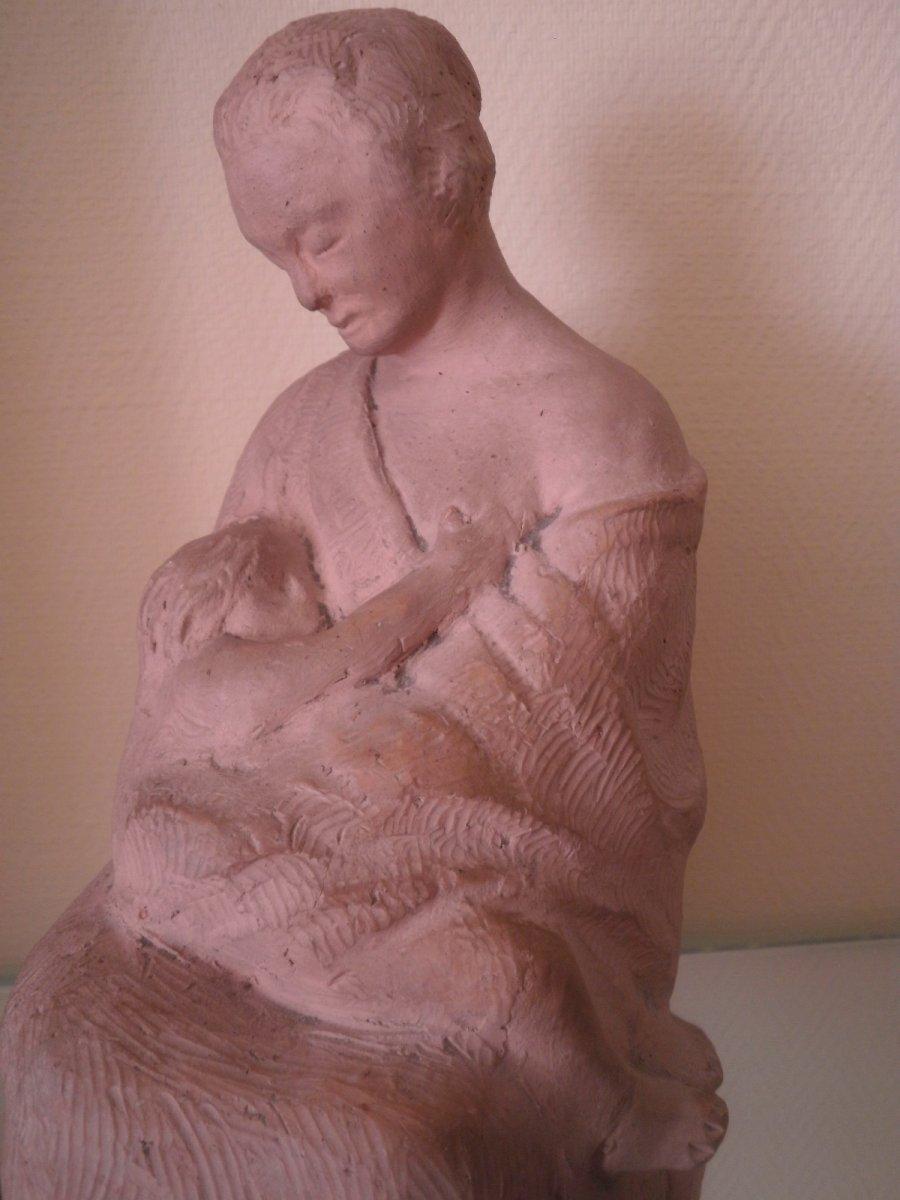 Mere A l'Enfant – Terre Cuite – Edmond Delphaut – XXème Siècle.-photo-2
