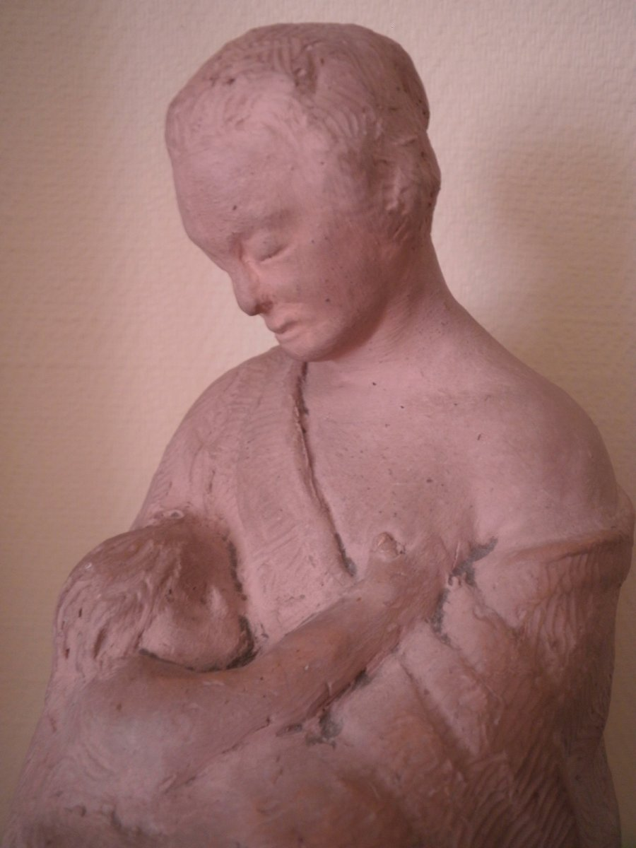 Mere A l'Enfant – Terre Cuite – Edmond Delphaut – XXème Siècle.-photo-4