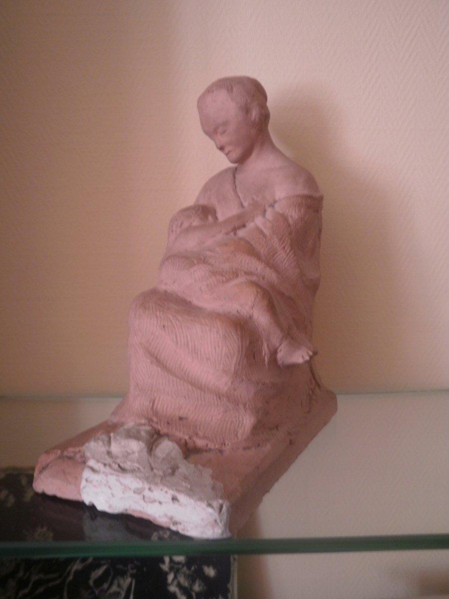 Mere A l'Enfant – Terre Cuite – Edmond Delphaut – XXème Siècle.