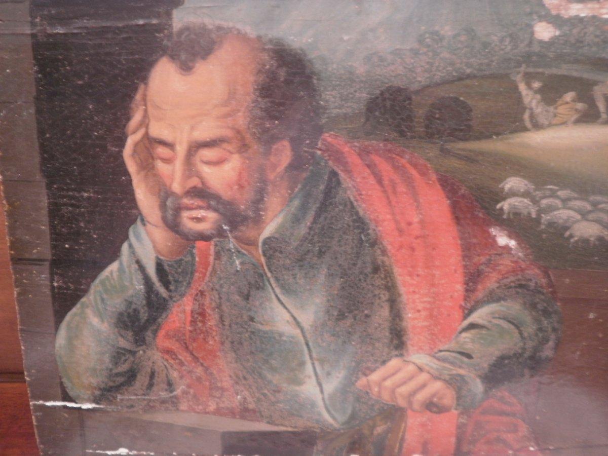 Peinture Sur Panneau Chene- Buste De Saint – XVIIème