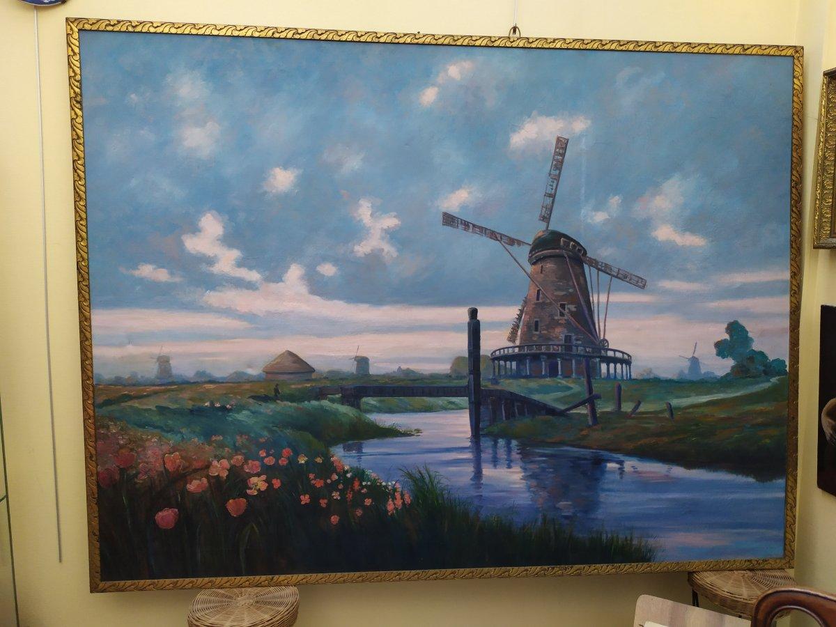 Paysage Hollandais Avec Moulin –  Huile Sur Toile - XXème-photo-2