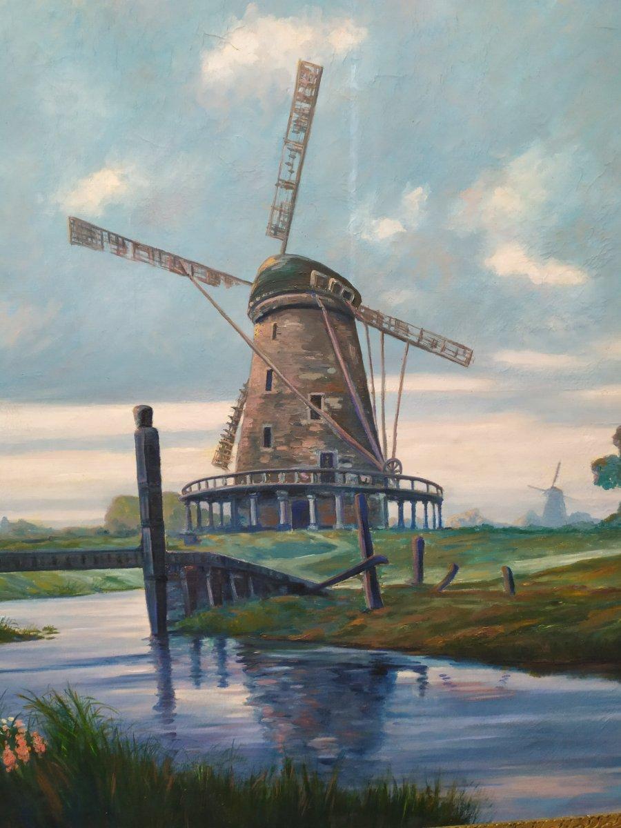 Paysage Hollandais Avec Moulin –  Huile Sur Toile - XXème-photo-3