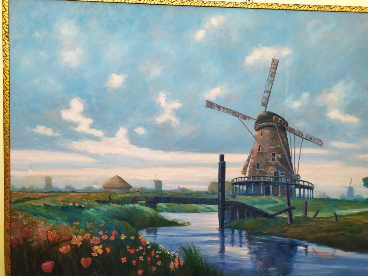 Paysage Hollandais Avec Moulin –  Huile Sur Toile - XXème-photo-4