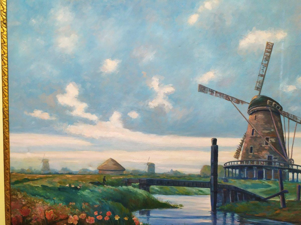 Paysage Hollandais Avec Moulin –  Huile Sur Toile - XXème-photo-1