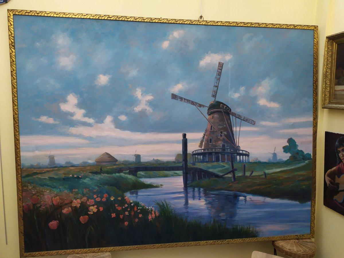 Paysage Hollandais Avec Moulin –  Huile Sur Toile - XXème