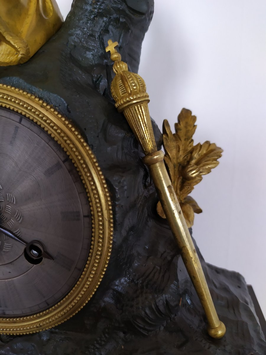 Pendule Restauration Bronze A Double Patine-photo-1