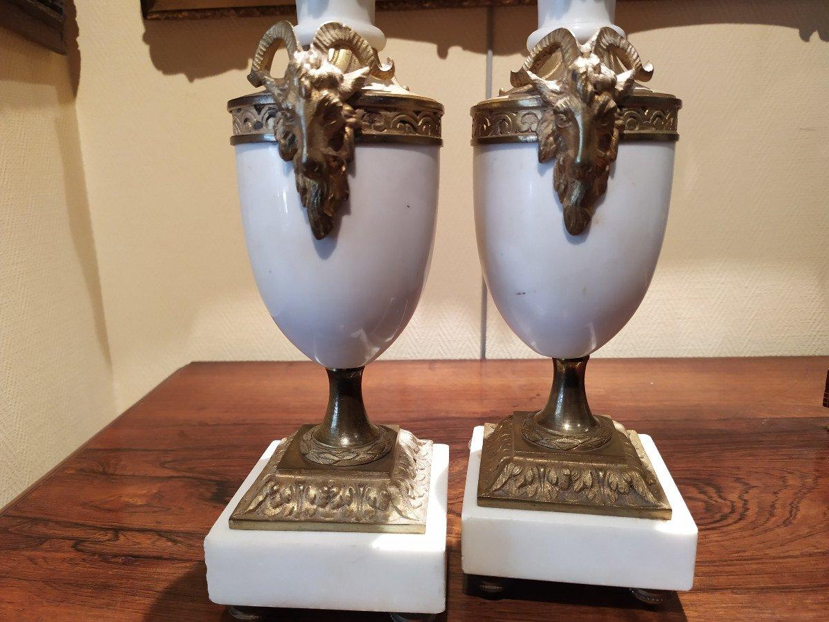 Paire De Cassolettes En Marbre Et Bronze- Style Louis XVI.-photo-3