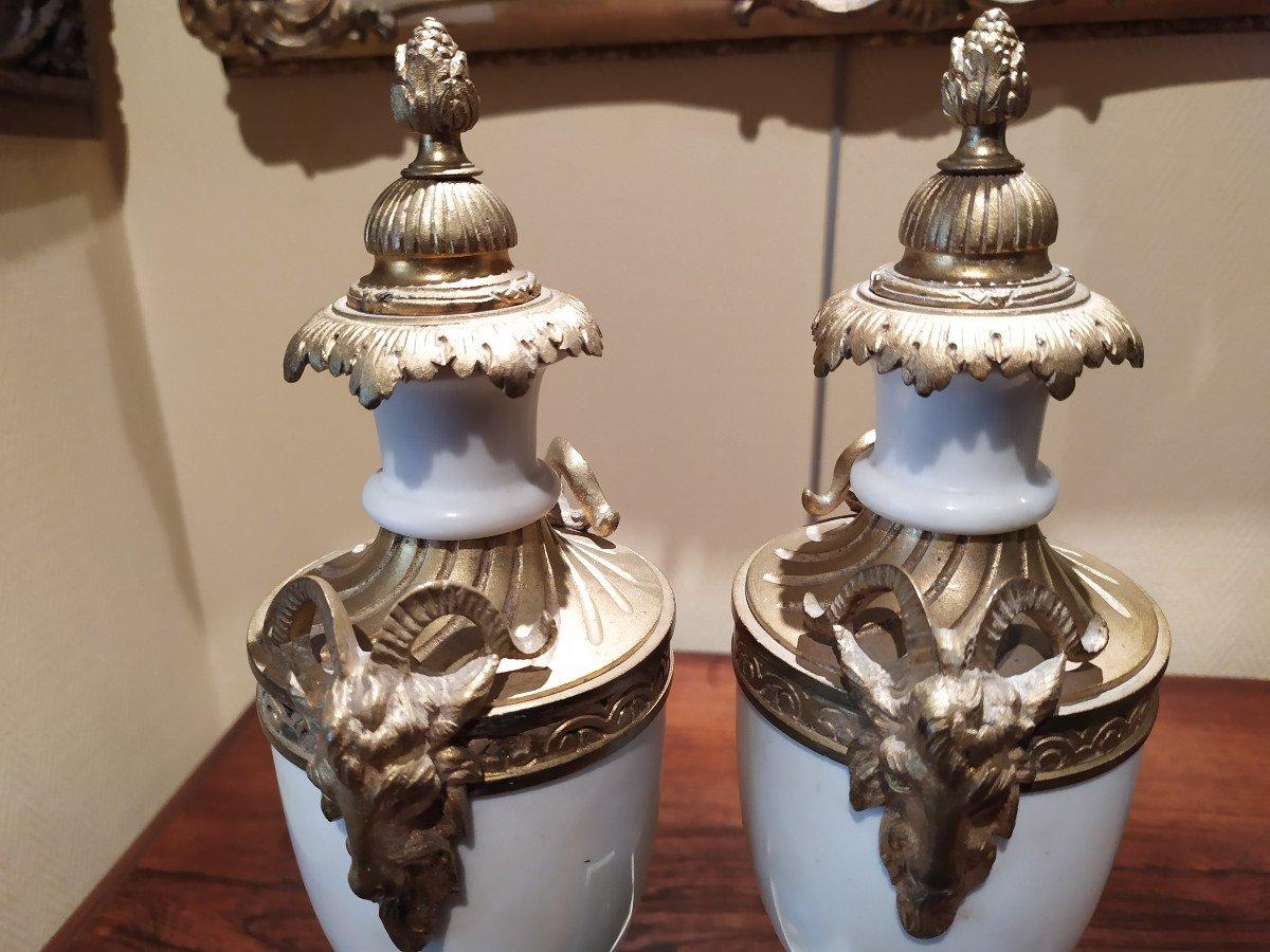 Paire De Cassolettes En Marbre Et Bronze- Style Louis XVI.-photo-4