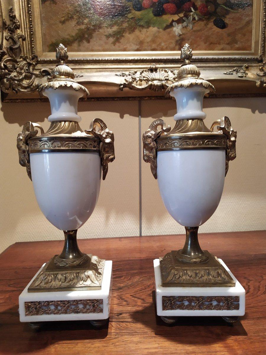 Paire De Cassolettes En Marbre Et Bronze- Style Louis XVI.