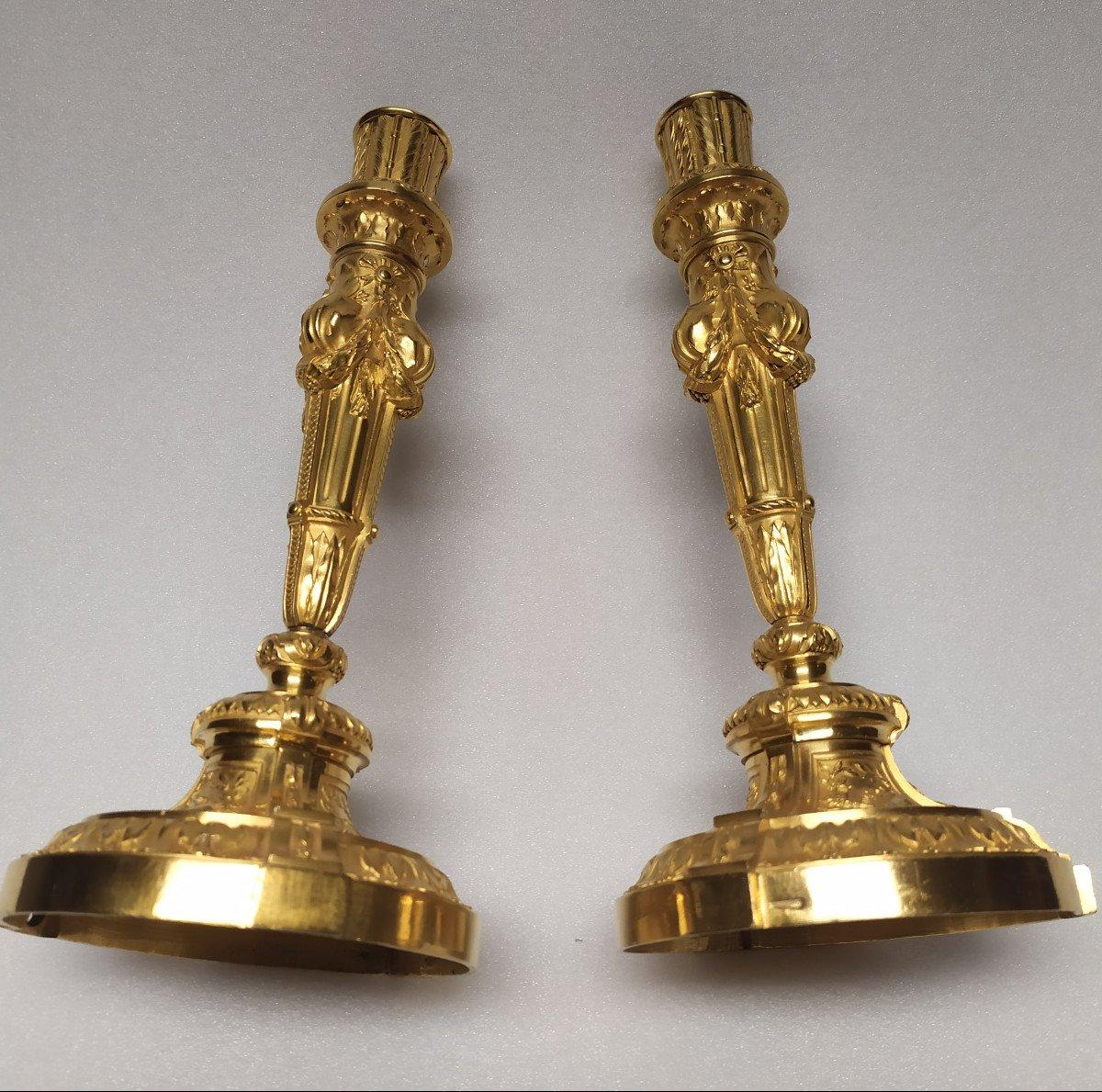 Flambeaux Bronze Dore -marque Christofle.