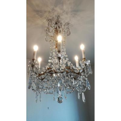 Chandelier Bronze And Crystal Baccarat - XXth