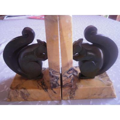 2 Bronze Squirrels - L Hubert - Art Deco