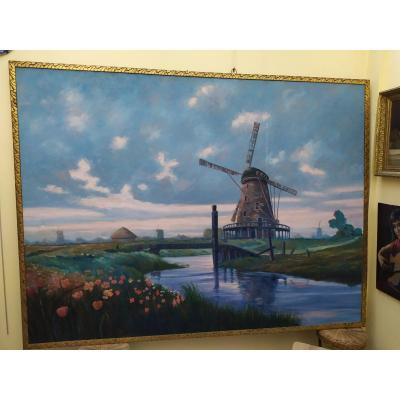 Dutch Landscape With Windmill - Oil On Canvas - XXth