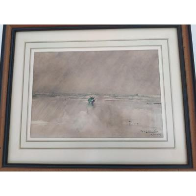 Watercolor Signed Ernest Guérin - Audierne Bay