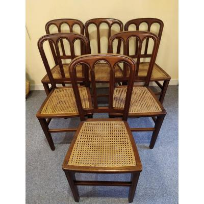 """Suite Of 6 Mahogany Chairs Marquees """"dubois"""" - XIXth."""