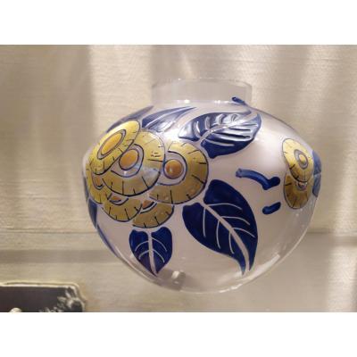 Twentieth Art Deco Enameled Glass Vase.
