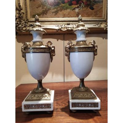 Pair Of Marble And Bronze Casseroles - Louis XVI Style.