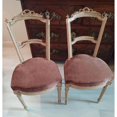 Paire De Chaises De Style Louis XVI.