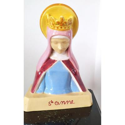 Faience Quimper - Anie Mouroux - Bust Of Ste Anne.