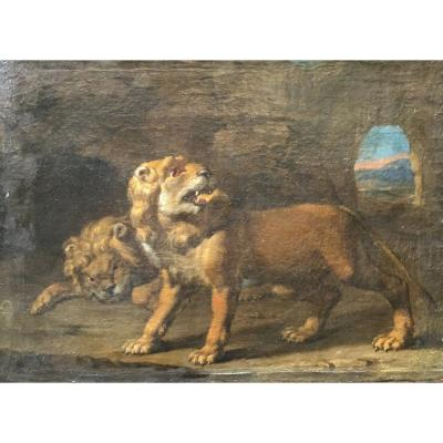 Flemish Painter, Landscape With Lions